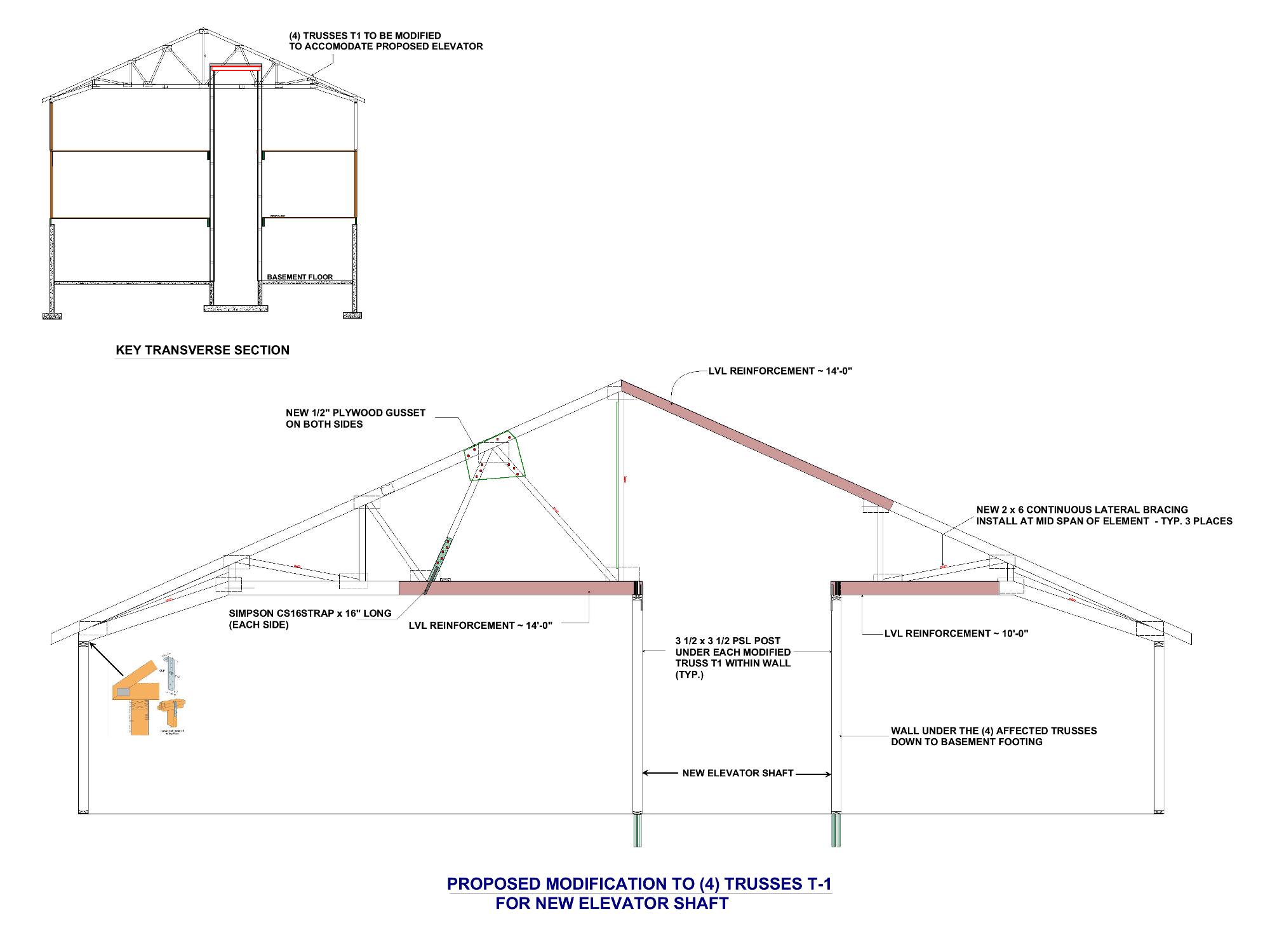 TRUSS MODIFICATION FOR ELEVATOR SHAFT